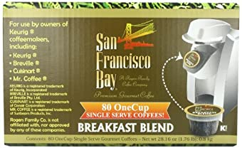 San Francisco Bay Coffee OneCup for Keurig K-Cup Brewers, Breakfast Blend, 80-Count