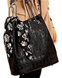 Womens Skull Print Pu Hobo Tote Shoulder Bag Handbag Light Black