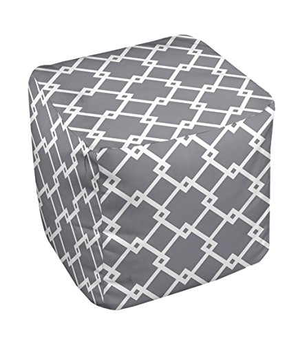 E by design FG-N10-Steel_Gray_White-18 Geometric Pouf