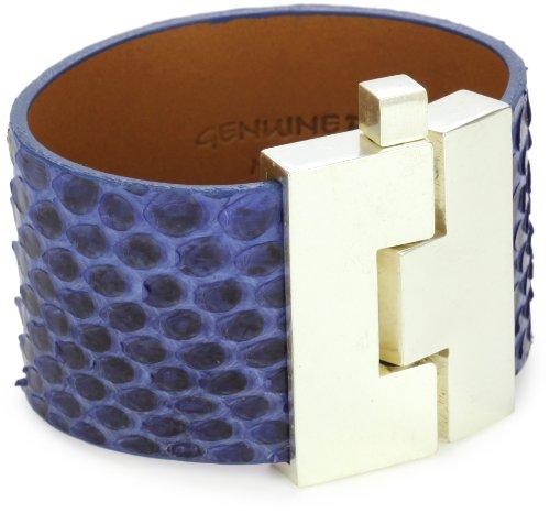 Leighelena Wide Blue Matte Python Bracelet