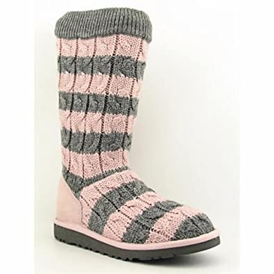 UGG Kids' Classic Tall Stripe (Pink/Heathered Grey 13.0 M)