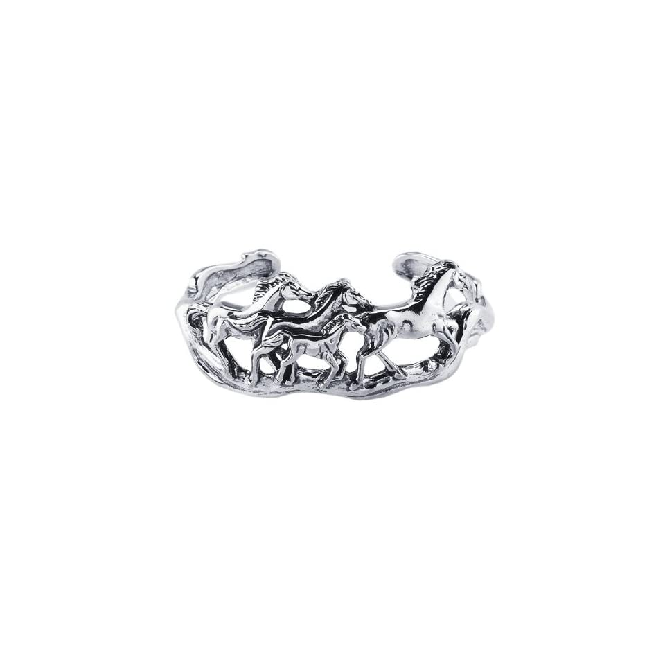 Sterling Silver Galloping Horses Cuff Bracelet 1 Inch Wide