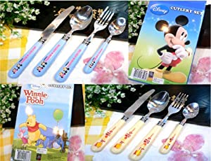 Mickey Mouse / Winnie the Pooh 4pcs Flatware Stainless Steel Spoons Fork Knife Cutlery Set (Blue Mickey Mouse)