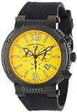 Swiss Legend Men's 10006-BB-07 Legato Cirque Chronograph Yellow Textured Dial Black Silicone Watch