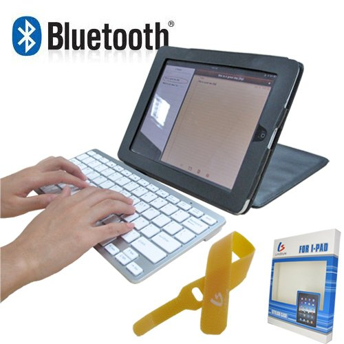 Bluetooth Wireless Keyboard + PU Leather Case Hold + Cable Tie for Apple iPad Mac Laptop