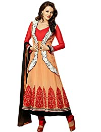 Zohraa Orange And Red Faux Georgette Anarkali Suit TouchShazia2007