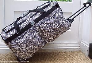 Travel Holdall 85 liters 2.5 kgs Bag On Wheels Animal print Black White Zebra trolley wheeled Luggage