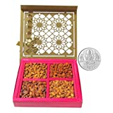 Chocholik Dry Fruits - 4 Types Of Almonds Flavour With 5gm Pure Silver Coin - Diwali Gifts