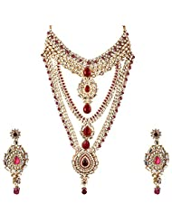 Lucky Jewellery Rani Color Gold Plated Kundan Set For Women