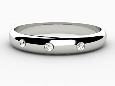 Diamond Set Wedding Ring 9ct White Gold 3mm Width D Shaped Band Set With 3 Beautiful Round Brilliant Cut Natural Diamonds.