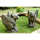 Pair of Stone Gargoyles - Eye catching Gothic style for all gardens. Hand finished.