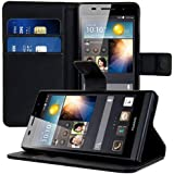 kwmobile Elegant synthetic leather case for the Huawei Ascend P6 with magnetic fastener and stand function in Black