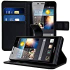 kwmobile® Elegant leather case for the Huawei Ascend P6 with magnetic fastener and stand function in Black