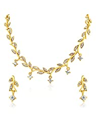 Oviya Gold Plated Leafy Shine Necklace Set For Women NL2103003G