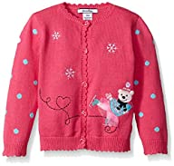 Hartstrings Baby-Girls Applique Skating Bear and Embroidered Cardigan Sweater