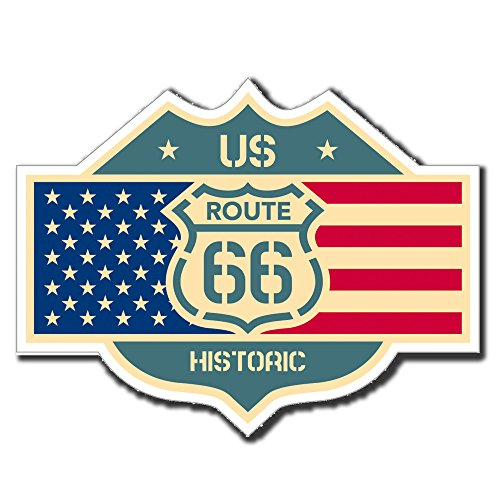 2-x-glossy-vinyl-stickers-us-route-66-flag-american-ipad-laptop-decal-4043-10cm-wide-x-8cm-tall