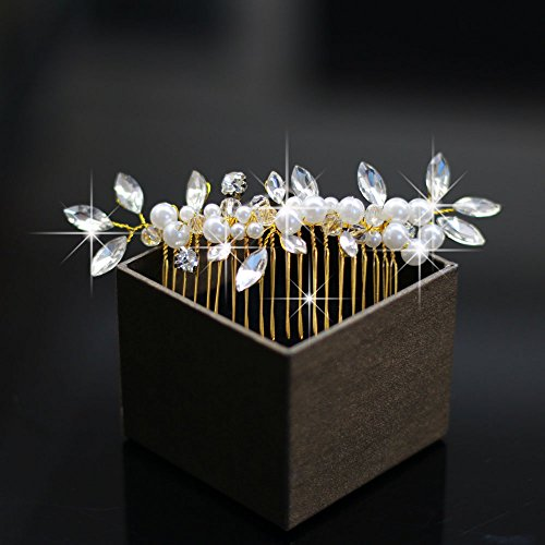 Venusvi Vintage Wedding Hair Combs with Bead and Rhinestones for Women 3