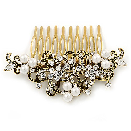 Vintage Inspired Clear Austrian Crystal White Glass Pearl Side Hair Comb In Gold Tone - 90mm 4