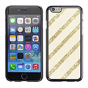 Omega Covers - Snap on Hard Back Case Cover Shell FOR Apple Iphone 6 Plus / 6S Plus ( 5.5 ) - Gold Glitter Beige Lines Parallel Pattern