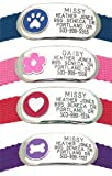 Jewelry Collar Tag - Custom engraved cat or dog pet ID tag that attaches flat to any collar. Paw or Heart design in 3 sizes and 4 colors.