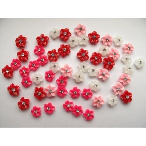 Nail Art 3d 60 Pieces Mix Color Flower for Nails, Cellphones 1.1cm