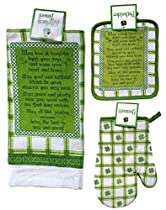 "St. Patrick's Day Sparkling ""Old Irish Blessing"" Kitchen Linen Set Bundle of 3 Items: (1) Four-leaf Clover Oven Mitt, (1) Pot Holder and (1) Kitchen Towel"