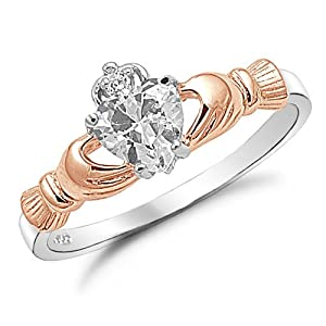 Sterling Silver Two Tone Rose Gold Heart CZ Claddagh Ring Sizes 4 to 10