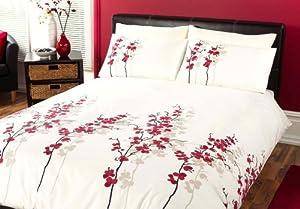 Dreams 'n' Drapes, Oriental Flower Quilt Set Red, King