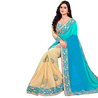 Siddeshwary Fab Sky Blue Half And Half Wedding Self