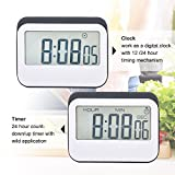 Mudder Magnetic Digital 24 Hours Kitchen Timer/ Clock with Large Screen, Grey-white