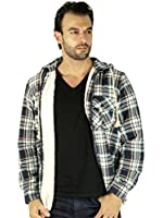 Store68 - Men's Sherpa-Lined Zip Up Flannel Jacket with Hood