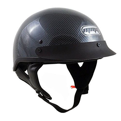 Motorcycle Half Helmet Cruiser DOT Street Legal - Carbon Fiber (Medium) (Motorcycle Helmet Carbon Fiber compare prices)