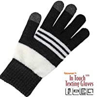 Fanwear Gloves In-Touch For Texting Stylish & Warm (Black & White)