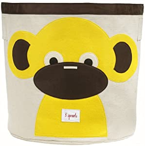 3SPROUTS Storage Bin Cubo Redondo Almacenaje Juguetes (Monkey) por 3 SPROUTS - BebeHogar.com