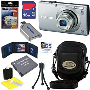 Canon PowerShot A2300 16.0 MP Digital Camera with 5x Digital Image Stabilized Zoom (Silver) + NB-11L Battery + 16GB Deluxe Accessory Kit