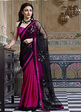 Net and Georgette Embroidered Pallu Glitter Bordered Partywear Hiba Saree available at Amazon for Rs.2650
