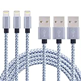 ONSON iPhone Cable,3Pack 6FT Nylon Braided Cord Lightning Cable Certified to USB Charging Charger for iPhone 7/7 Plus/6/6 Plus/6S/6S Plus,SE/5S/5,iPad,iPod Nano 7 (Gray White,6FT)