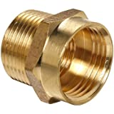 "Anderson Metals Brass Garden Hose Fitting, Connector, 3/4"" Female Hose ID x 3/4"" Male Pipe x 1/2"" Tapped Female Pipe"