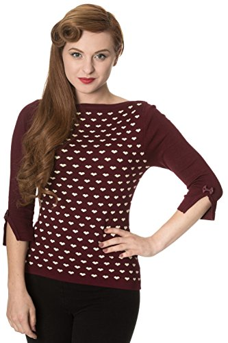 Banned Charme Cuore Knit Top - nero, bordeaux o verde - Burgundy / S