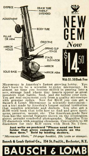 1934 Ad Bausch Lomb Optical 754 St Paul St Rochester Ny New Gem Microscope Hobby - Original Print Ad