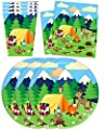Camping Adventure Birthday Party Supplies Set Plates Napkins Cups Tableware Kit for 16