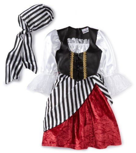 InCharacter Costumes, LLC Girls 2-6X Pirate Mid-Length Dress Set, Black/Red, 4