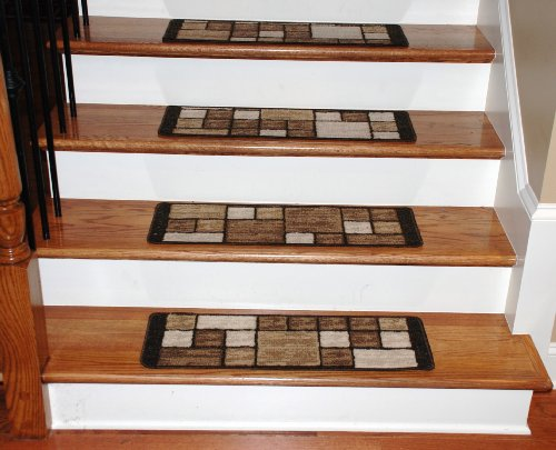 Washable Carpet Stair Treads - Hop Scotch Beige