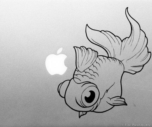 Fat Googly Eyed Swimming Pet Goldfish Fish MacBook Laptop Apple Vinyl Decal Black Aquarium Fishtank