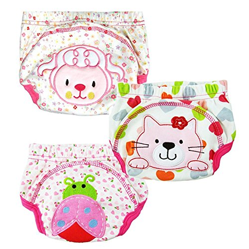 Taiycyxgan 3pcs Baby Girl Infant Kids Training Pants Cloth Underwear Nappy Pink (XL)