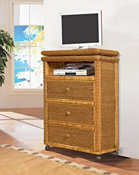 Santa Cruz Rattan and Wicker Tall TV Stand with Caster Wheels