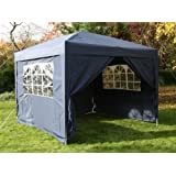 Airwave 3x3mtr Blue Pop Up Gazebo, FULLY WATERPROOF, INCLUDES WindBar and Four Sides and Bag.by ESC Ltd