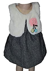 Habooz kids black and white sleevless frock with fur