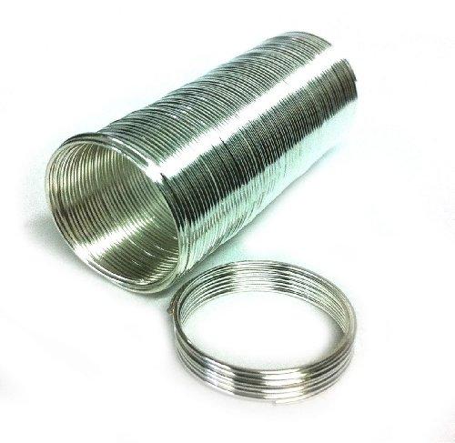 20mm Diameter 22 Gauge Rhodium Plated 65 Spools Memory Wire Ring 66168rp