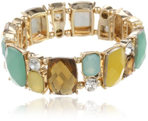 Napier Gold Tone Multi Colored Stretch Bracelet
